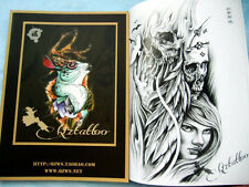 Oriental Style Old school Tattoo Flsh Book Skull Cat Birds Flower Dragon Ghost