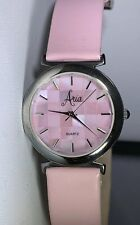 Ladies ARIA sterling silver guartz watch PINK Pearl Dial & Pink Leather Band New