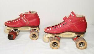 RARE! Vintage Riedell Red Wing Roller Skates w Laser Skate Co Plates Size SM