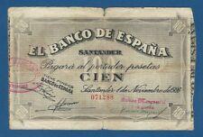 SANTANDER -- 100 PESETAS ( 1936 ) -- BC // F -- SIN SERIE -- PICK S585d .