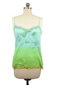 PJ Salvage Top Medium Blue Green Sequin Lace Lounge Sleeveless Cami  Bohemian