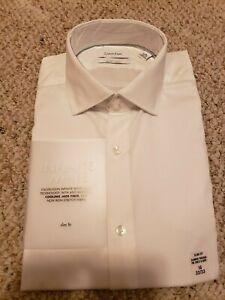Calvin Klein Infinite Non-Iron White Slim Fit Dress Shirt 16 32/33 NWT $85.00