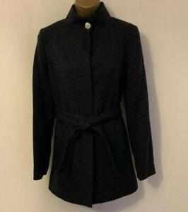 Monsoon Wrap Belt Blue Textured City High Neck Classic Winter Warm Short Coat