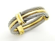 Designer Charriol Alor 18K Yellow Gold SS Cable Celtic Wedding Ring Band Unisex