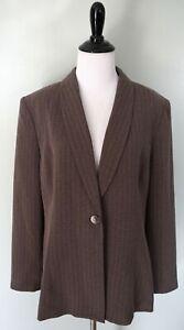 Le Suit Brown 1 Button Polyester Career Work Suit Jacket Coat Blazer Size 14 P