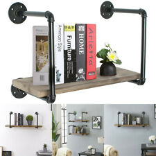 Rustic Wood Iron Pipe Frame Floating Shelving Shelf Rack Wall Mounted Storage