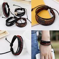 1PC Black/Brown Surfer Tribal Wrap Multilayer PU Leather Cuff Bracelet Wristband