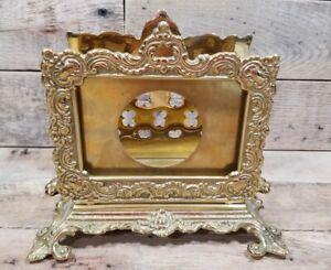 Virginia Metalcrafters 7-10 Ornate Brass Letter Holder Good Used Shape