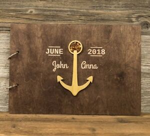 Personalized Wooden Wedding Guest Book, Rustic, Gold Anchor, Baltic Amber, Gift