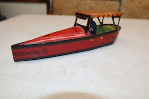 VINTAGE & UNIQUE & RARE STRAUSS MARKED MARX FIRE WATER SPEED BOAT TIN WINDUP