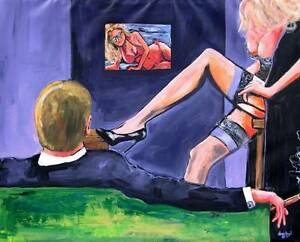 Cigar Man Cave Babe Legs Original Art Contemporary Painting DAN BYL Huge 5x4ft