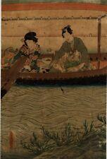 UW»Estampe japonaise originale couple bateau 1850 Toyokuni 99 M01