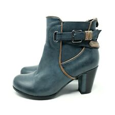 Redz Petrol Blue Ankle Boots Heels Tan Trim Quirky Straps Zip Up UK 6 EU 39