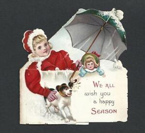 Y29 - GIRL, DOLL , DOG AND UMBRELLA - TUCK FOLDING EMBOSSED EDWARDIAN XMAS CARD
