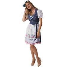 Damen Mini Dirndl Trachtenkleid Kleid Schürze Oktoberfest Tracht Volksfest Blau