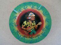Vintage Ashtray  Round Metal Tin Hippy Guitarist