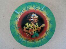 Vintage Ashtray  Round Metal Hippy Guitarist