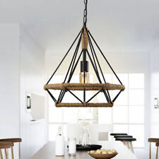 Vintage Loft Industrial Pendant Ceiling Light Lamp Shade Iron+Rope Cage Decor