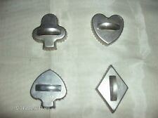 Vintage Aluminum Cookie Biscuit Cutters Lot of 4 Spade Club Heart Diamond