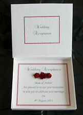 Wedding Acceptance/Regret Card + Box - Choice of Colour Trim Personalised