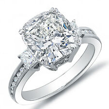 2.87 Ct. Cushion Cut w/ Princess & Round Diamond Engagement 18K Ring J,VS1 EGL