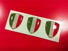 3 Adesivi Resinati Sticker 3D Scudetto Stemma ITALIA Tricolore Bandiera 20 mm