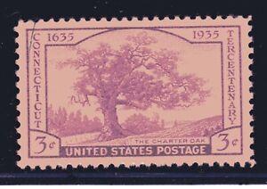 U.S. STAMP #772  --- 3c CHARTER OAK -  XF  -  MINT - GRADED 90 (APPARENT 100)