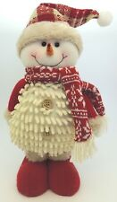 Cream & Red Snowman Standing Plush Felt / Knitted Christmas Decoration Toy *NEW*