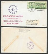 1941 Ship Cover - U.S.S. Washington - Commissioned, First Day