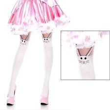 Easter Bunny Rabbit Fake Thigh Hi Design Pantyhose Tights Retro Pinup Fashion OS