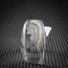 Ring, Gr. 55 aus Silber 925 mit einem Laguna Lace Achat aus Mexico