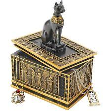 Egyptian Style Jewelry Trinket Royal Cat Sarcophagus Gold Ebony Box Ethnic Decor