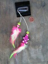 HANDMADE USA Feather Hair Extensions ONE OF KIND Bear Pink Lime Green CLIP ON