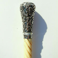 More details for large antique victorian sterling silver mounted boot button hook birmingham 1889