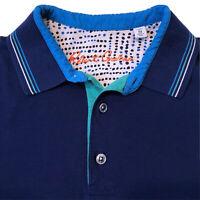 ROBERT GRAHAM Mens Golf Polo Medium Classic Fit Short Sleeve Blue Cotton Shirt