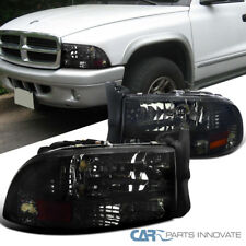 97-04 Dodge Dakota Durango Replacement Chrome Smoke 1PC Headlights Lamps Pair
