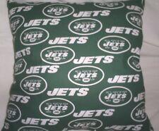 "16.5""x16.5"" Handmade Pillow-New York Jets Cotton Print w/Dark Green Back"
