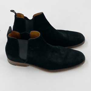 Aldo Mens Vianello Chelsea Ankle Boots Black Leather Almond Toe Pull On 8
