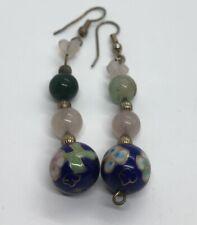Vintage Earrings Dangle Drop Cloisonné Bead Jade Rose Quartz