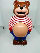 """New ListingVintage- J.S.Y Pot Belly Bear With Growing Belly- Plastic 8"""" Bank W/ Box"""