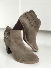 Gap Taupe Grey Suede Leather Biker Strap Western Ankle Boots 8 41