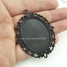 14660*4x Black 40x30mm Frame Base Tray Holder Setting Pendant For Cabochon Cameo