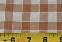 """By 1/2 Yd, 36"""" Wide, Vintage 1940's-60's, Brown & Cream 1/2"""" Gingham Gauze N6173"""