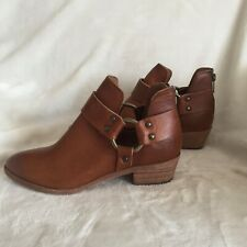 Frye Leather Back-Zip Ankle Boots - Ray Harness, Caramel, Size 7M, New