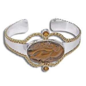 Offerings Sajen 925 Sterling Silver & 22K Two-Tone Tiger Eye Horse Bracelet