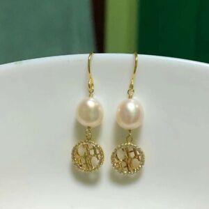 Carolina Herrera Earrings White Sea Shell Pearl CH Logo