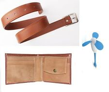 Combo of Men's Belt Tan Color and Brown Wallet with Free USB FAN