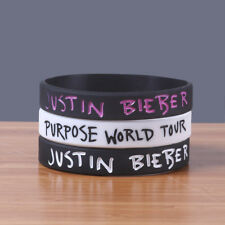 3x I Love JUSTIN BIEBER Silicone Rubber Wristbands Heart Bracelets Colorful