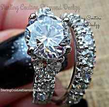 925 Sterling Silver Round Lab Diamond Engagement Ring Wedding Set Women's size 7