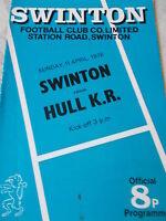 11.4.76 Swinton v Hull KR programme